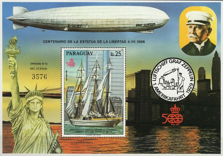 [Airmail - The 100th Anniversary of the Statue of Liberty in New York - Ships, Typ ]