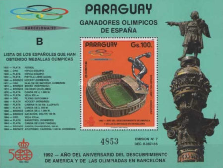 [Airmail - Olympic Games - Barcelona, Spain 1992, Typ ]