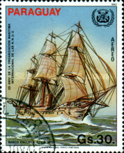 [Airmail - The 25th Anniversary of International Maritime Organization (IMO) and the 490th Anniversaryof the Discovery of America, Typ CTH]
