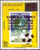 [Airmail - Paraguay's Participation in Previous Football World Cup Finals - Overprinted, Typ DSV]