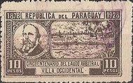 [The 50th Anniversary of USA President Hayes's Decision to award Northern Chaco to Paraguay, type EI]