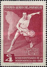 [Airmail - The 150th Anniversary of Independence and the 28th South American Tennis Championships, Asuncion, Typ QO]