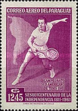 [Airmail - The 150th Anniversary of Independence and the 28th South American Tennis Championships, Asuncion, Typ QO1]