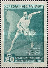 [Airmail - The 150th Anniversary of Independence and the 28th South American Tennis Championships, Asuncion, Typ QO2]