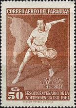 [Airmail - The 150th Anniversary of Independence and the 28th South American Tennis Championships, Asuncion, Typ QO3]