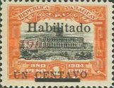 """[Official Stamps Overprinted """"Habilitado 1908"""" & Surcharged """"UN CENTAVO"""", type XCO2]"""