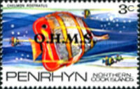 [Fish of the Pacific - Penrhyn Postage Stamps of 1974 Overprinted