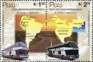 [The 30th Anniversary of Peru-North America Bus Route, type ]