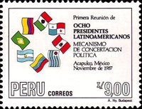 [The 1st Meeting of Eight Latin American Presidents of Contadora and Lima Groups, Acapulco, Mexico, Typ AHL]