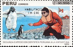 [The 2nd Peruvian Scientific Expedition to Antarctica - Unissued Stamps Surcharged, type AKE]