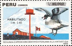 [The 2nd Peruvian Scientific Expedition to Antarctica - Unissued Stamps Surcharged, type AKF]
