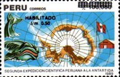 [The 2nd Peruvian Scientific Expedition to Antarctica - Unissued Stamps Surcharged, type AKG]