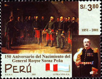 [The 150th Anniversary of the Birth of Roque Saenz Pena, Argentinean General, 1851-1914, Typ AVL]