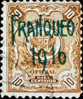 """[Official Stamps of 1909 Overprinted """"FRANQUEO 1916"""" or Surcharged """"VALE 2 Cts"""" Also, type DJ1]"""