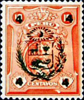 [Fall of Leguia Government - Issue of 1924 Overprinted with Arms of Peru or Surcharged with New Value in Four Corners also, type EI3]