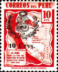 [Overprinted with Arms of Peru and Surcharged 10 CTVS, type HX2]