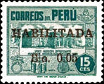 "[Overprinted ""HABILITADA S/."" and Surcharged, Typ HY4]"