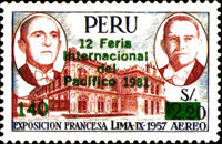 "[Airmail - The 12th International Pacific Fair, Lima - Issue of 1957 Overprinted ""12 Feria Internacional del Pacifico 1981"" and Surcharged, type LM3]"