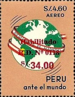 [Airmail - Stamps of 1965-1968 Surcharged, type OJ2]
