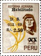[Unissued Agrarian Reform Stamps, Surcharged, Typ PE]