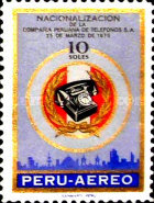 [Airmail - Nationalization of Lima Telephone Service, type QL1]