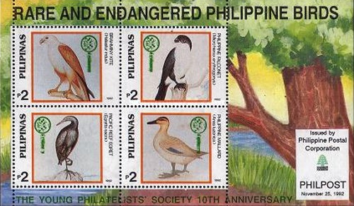 [The 10th Anniversary of Young Philatelists' Society - Endangered Birds Stamps of 1992 Overprinted, Typ ]