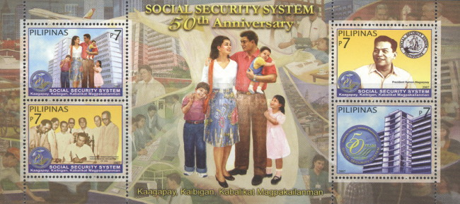 [The 50th Anniversary of the Social Security System - Greyish Blue Frame, Typ ]