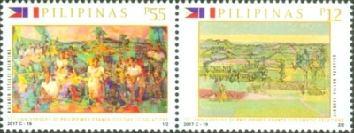 [The 70th Anniversary of Diplomatic Relations with France - Joint Issue with France, Typ ]