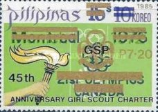 [The 45th Anniversary of Girl Scout Charter - Issue of 1976 Overprinted
