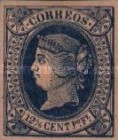 [Queen Isabella II - Looking Left. Colored Paper, type K2]