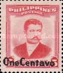 [Issue of 1952 Surcharged ONE CENTAVO, Typ WM]