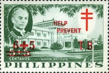 [Tax for the Philippine Tuberculosis Society - Manuel Quezon & the Quezon Institute Stamps of 1958 Surcharged & Overprinted