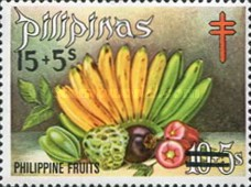 [Tax for the Philippine Tuberculosis Society - Fruits Stamps of 1972 Surcharged, type T1]