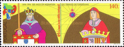 [The 500th Anniversary of the Contract of Tordesilla between Portugal and Spain, Typ AVN]