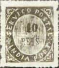 """[Numeral Stamps - Thin Bluish Toned Paper. Small Value Figures - Horizontal Line in """"A"""" in """"INDIA"""" Missing, type C]"""