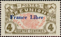 """[Stamps of 1907 Overprinted """"France Libre"""", type BG]"""