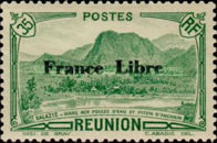 """[Tourism Stamps of 1933-1943 Overprinted """"France Libre"""" - Mountain Landscape, type BH]"""