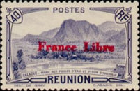 """[Tourism Stamps of 1933-1943 Overprinted """"France Libre"""" - Mountain Landscape, type BH1]"""