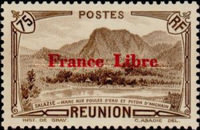 """[Tourism Stamps of 1933-1943 Overprinted """"France Libre"""" - Mountain Landscape, type BH10]"""