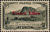 """[Tourism Stamps of 1933-1943 Overprinted """"France Libre"""" - Mountain Landscape, type BH11]"""