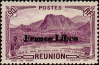 """[Tourism Stamps of 1933-1943 Overprinted """"France Libre"""" - Mountain Landscape, type BH12]"""