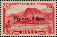 """[Tourism Stamps of 1933-1943 Overprinted """"France Libre"""" - Mountain Landscape, type BH14]"""