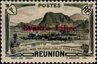 """[Tourism Stamps of 1933-1943 Overprinted """"France Libre"""" - Mountain Landscape, type BH15]"""