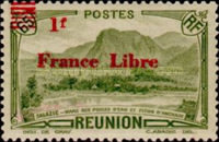 """[Tourism Stamps of 1933-1943 Overprinted """"France Libre"""" - Mountain Landscape, type BH16]"""