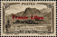 """[Tourism Stamps of 1933-1943 Overprinted """"France Libre"""" - Mountain Landscape, type BH2]"""