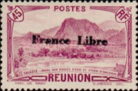 """[Tourism Stamps of 1933-1943 Overprinted """"France Libre"""" - Mountain Landscape, type BH3]"""