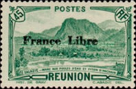 """[Tourism Stamps of 1933-1943 Overprinted """"France Libre"""" - Mountain Landscape, type BH4]"""