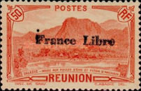 """[Tourism Stamps of 1933-1943 Overprinted """"France Libre"""" - Mountain Landscape, type BH5]"""