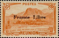 """[Tourism Stamps of 1933-1943 Overprinted """"France Libre"""" - Mountain Landscape, type BH6]"""