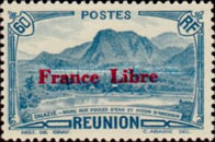 """[Tourism Stamps of 1933-1943 Overprinted """"France Libre"""" - Mountain Landscape, type BH7]"""